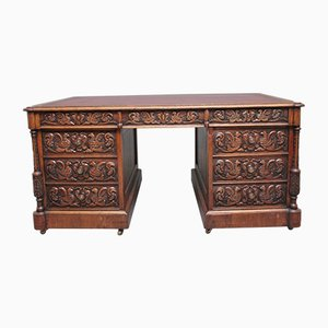 19th-Century Carved Oak Partners Desk
