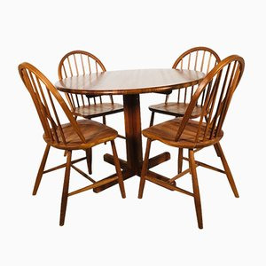 Dining Table & Chairs Set, 1960s, Denmark, Set of 5