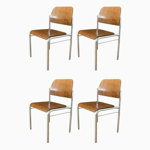 Stackable Plywood Chairs with Chrome Frame, 1950s, Set of 4