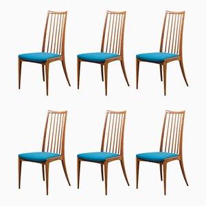 Chaises de Salon en Merisier, 1960s, Set de 6