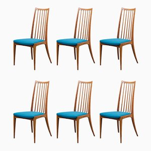 Cherry Wood Dining Chairs, 1960s, Set of 6