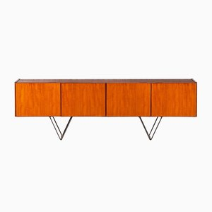 Interconnecting Minimalist Sideboard in Teak and Steel, 1950s