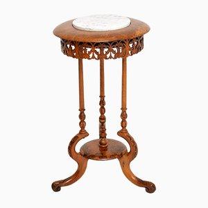 Antiker viktorianischer Beistelltisch aus Nussholz & Marmor