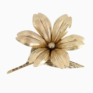 Italian Flower Ashtray in Brass with Petals, 1950s