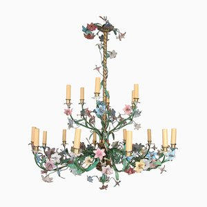 19th-Century French Brass and Polychrome Metal Chandelier