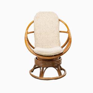 Round Bamboo Swivel Armchair, 1970s