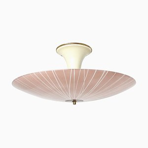 Mid-Century Tulip Ceiling Lamp with Pink Glass Shade