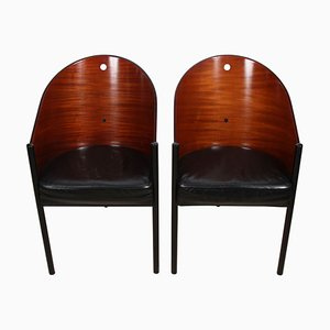 Wood & Leather Chairs by Philippe Starck, Set of 2