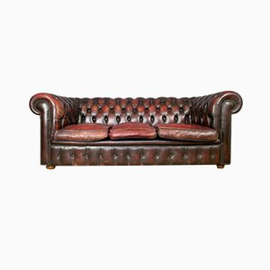 British Oxblood Leather Chesterfield Sofa, 1980s