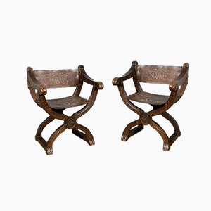 20th Century Italian Oak & Leather X-Frame Armchairs, Set of 2