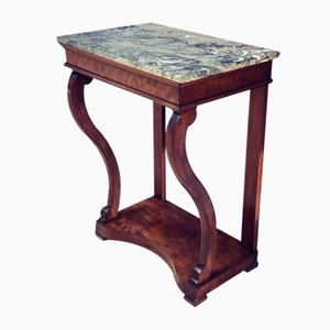 Antique Italian Walnut Console Table with Marble Top