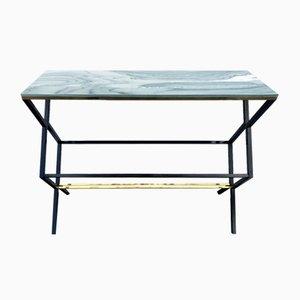 Iron, Marble and Brass Console Table, Italy, 1970s