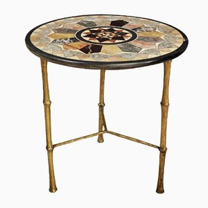 Italian Pietra Dura Faux Bamboo Brass Leg Side Table