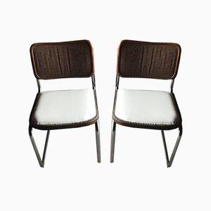 Mid-Century Modern Chrom Esszimmerstühle, 1970er, 4er Set