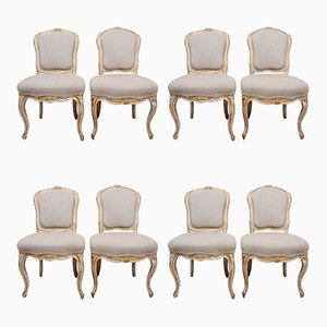 Giltwood Upholstered Dining Chairs, Set of 8