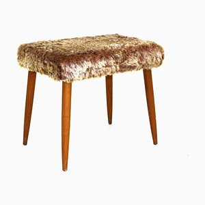Teak and Faux Fur Stool, 1950s