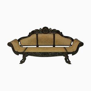 Large Antique Anglo-Ceylonese Solid Ebony Sofa