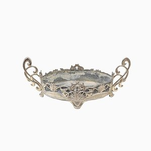 Antique Spanish Centerpiece in Silver Metal and Tin