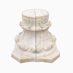 Antique White Marble Corinthian Capital in Two Halves, Set of 2