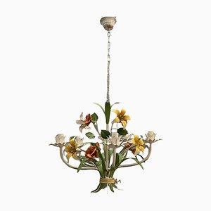 Vintage Italian Tole Flower Chandelier 1960s