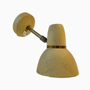 Scandinavian Pastel Yellow Wall Lamp in Brass & Aluminium, 1950s