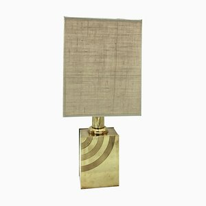 Italian Brass Table Lamp With Striped Detail, 1960s