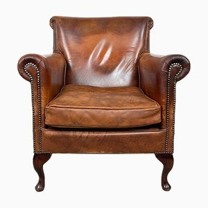 Large Vintage Sheep Leather Armchair