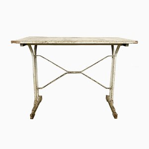 Antique White Painted Wooden Bistro Table by Martin Meallet