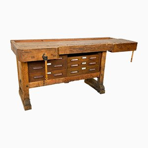 Large Vintage Industrial Workbench with Drawers