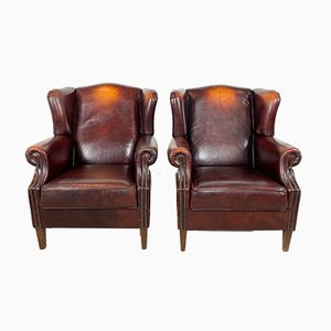 Vintage Dark Brown Sheep Leather Wingback Armchairs, Set of 2