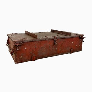 Vintage French Industrial Red Metal Trunk
