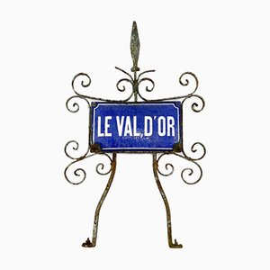French Antique Enamel Street Sign Le Val D'or