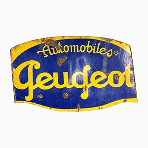 Vintage Industrial Double Sided Enamel Peugeot Sign