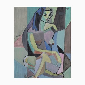 Cubist Nude Portrait of Seated Woman III by Kosta Stojanovich, 1950s