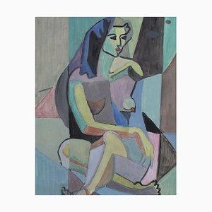 Kubistisches Aktportrait von Woman III sitzend von Kosta Stojanovich, 1950er
