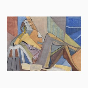 Portrait of Reposing Cubist Nude with Book by Kosta Stojanovich, 1950s