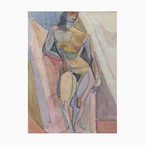 Kubistisches Aktporträt von Standing Woman von Kosta Stojanovich, 1950er