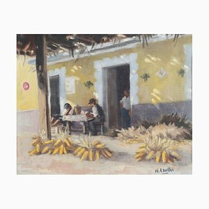 the Basque Inn with Corn by Henri Laulhé, 1960s