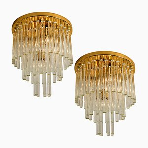 Chandelier or Flush Mount in Brass and Crystal by Christoph Palme, 1960s