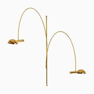 Double Ball Brass Arc Floor Lamp by Florian Schulz, 1970