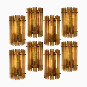 Large Murano Glass Wall Sconces in Glass and Brass, 1970s