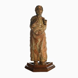 Carved Wooden Statue of Holy Person, 17th Century