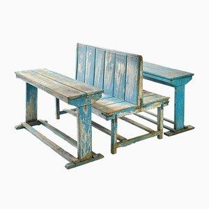 Escritorio escolar doble de madera azul