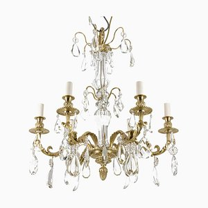 Louis XIV Style Chandelier in Crystal and Gilt Bronze, 1880s