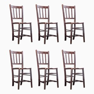 Dark Elm Church Dining Chairs, 1920s, Set of 6