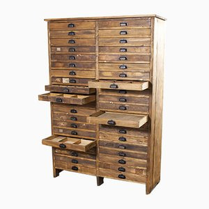 Large Bank of French Industrial Chest of Drawers, 1940s