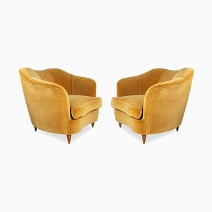Velvet Armchairs by Gio Ponti for Casa Giardino, 1940s, Set of 2