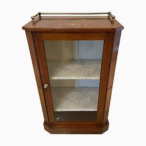 Antique Victorian Burr Walnut Inlaid Music Cabinet, 19th Century