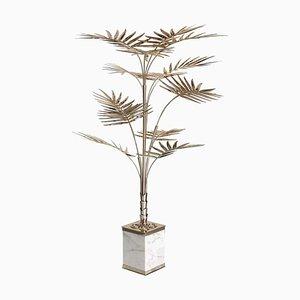 Lámpara de pie en forma de palmera de latón con base de mármol