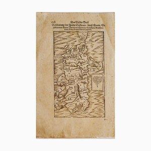 Gravure Inconnue - Sardaigne - Gravure Originale, 16ème Siècle